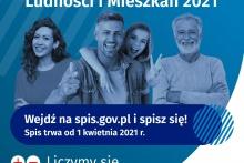 Narodowy Spis Ludności i Mieszkań 2021 na obrazku grupa czterech osób