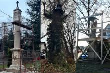 """od lewej: kapliczka w Stojowicach, kapliczka w lipie """"Marysieńka"""", figura św. Floriana na rynku"""