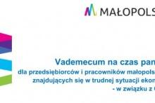 logo Małopolski i napis: Vademecum na czas pandemii dla przedsiębiorców i pracowników małopolskich firm znajdujących się w trudnej sytuacji - w związku z covid-19