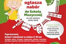 plakat - nabór do szkoły muzycznej I stopnia w Dobczycach