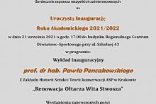 Uniwersytet Trzeciego Wieku w Dobczycach zaprasza na Uroczystą Inaugurację Roku Akademickiego 2021/2022