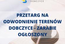 logo gminy oraz napis: przetarg na odwodnienie terenów Dobzyce - Zarabie ogłoszony