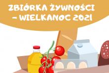 żywność w pudełku: chleb, jajka, olej, pomidory i napis: Zbiórka Żywności - Wielkanoc 2021