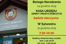 Kasa urzędu - godziny otwarcia w Wigilię i Sylwestra