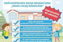 baner z tytułem akcji: Dzieci uczą rodziców, w tle szkoła i dzieci