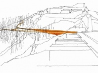 koncepcja kładki biegnącej ze Wzgórza Zamkowego na koronę zapory