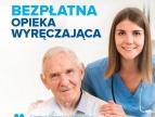 grafika przedstawiająca seniora oraz opiekunkę medyczną i napis: bezpłatna opieka wyręczająca