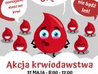 krople krwi i napis akcja krwiodawstwa