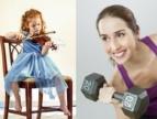 dziwczynka grająca na skrzypcach i kobieta na siłowni