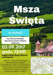 plakat - msza święta w intencji śp. Marcina Pawlaka - Burmistrza Gminy i Miasta Dobczyce