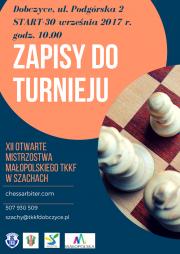 Zapisy do turnieju w ramach XII Otwartych Mistrzostw Małopolskiego TKKF w Szachach