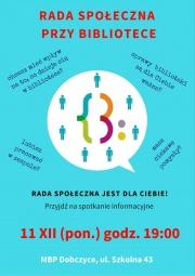 Rada Społeczna przy Bibliotece - spotkanie informacyjne