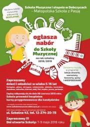 plakat - nabór do szkoły muzycznej w Dobczycach