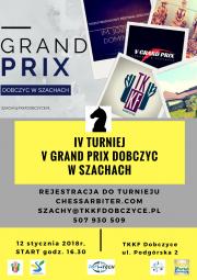Plakat promujący IV Grand Prix Dobczyc w Szachach
