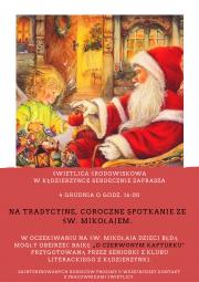 Plakat Spotkanie ze św. Mikołajem w Kedzierzynce