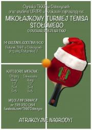 Plakat Mikołajkowego Turnieju Tenisa Stołowego o Puchar Prezesa TKKF