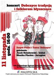 """plakat koncertu """"Dobczyce tradycją i folklorem błyszczące"""""""