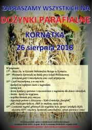 plakat - Dożynki w Kornatce 2018