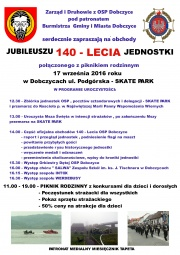 Plakat Jubileusz 140-lecia OSP Dobczyce