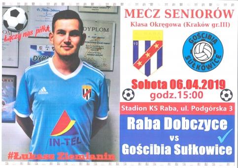 Mecz seniorów Raba Dobczyce vs Gościbia Sułkowice
