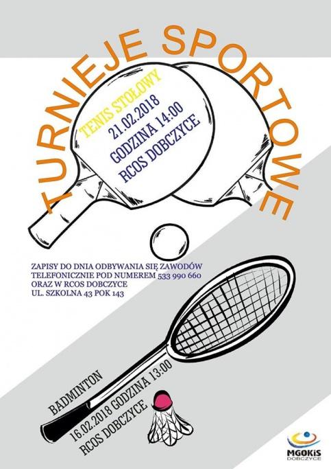 Plakat Turniej Tenisa Stołowego i badminton