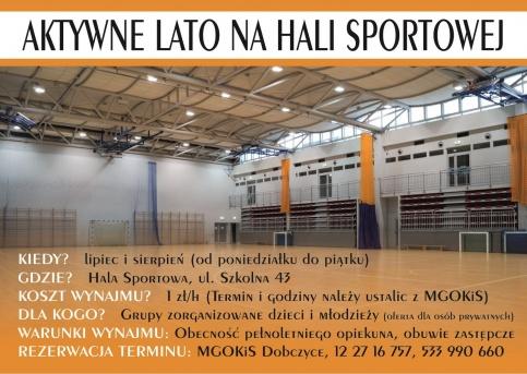 plakat - zasady wynajmu hali sportowej w RCOS