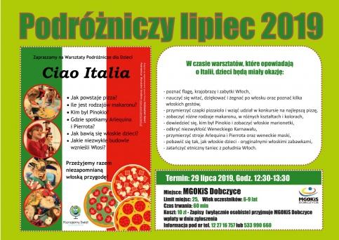 plakat - Warsztaty podróźnicze - Ciao Italia