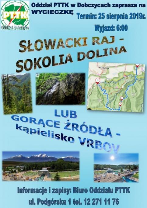 plakat - wycieczki PTTK - Słowacki Raj i kąpieliska termalne
