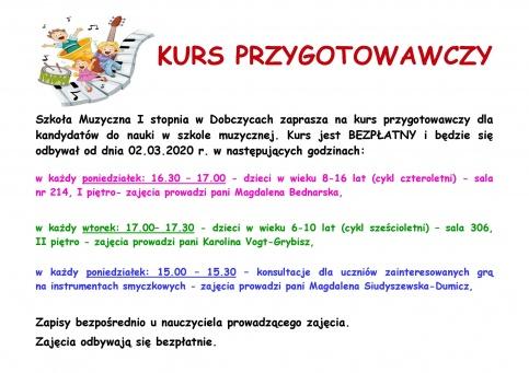 plakat - Zapisy na kurs przygotowawczy do Szkoły Muzycznej I stopnia w Dobczycach
