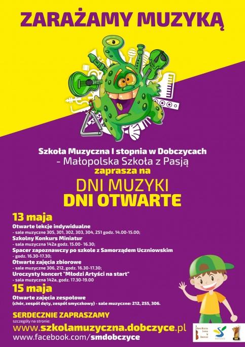 plakat - Dni muzyki, dni otwarte Szkoły Muzycznej I stopnia w Dobczycach