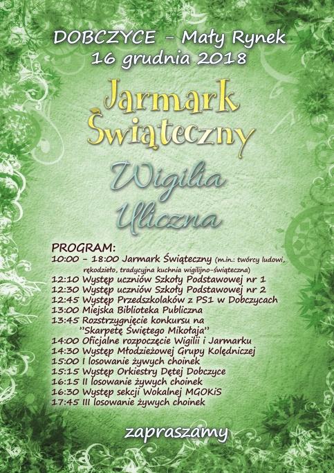 plakat - Jarmark i Wigilia Uliczna 2018
