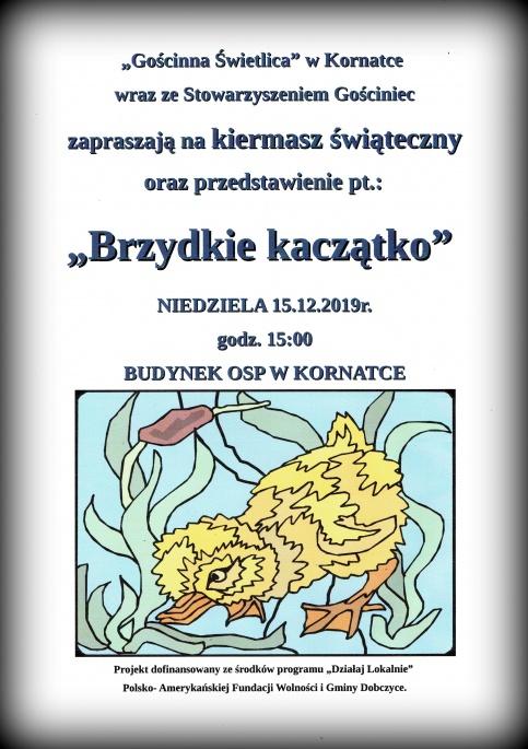 plakat kiermaszu i przedstawienia w Kornatce