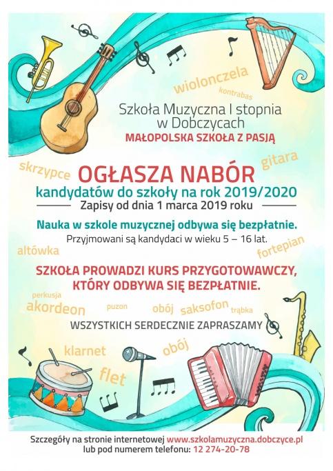 plakat - nabór do Szkoły Muzycznej I st. w Dobczycach