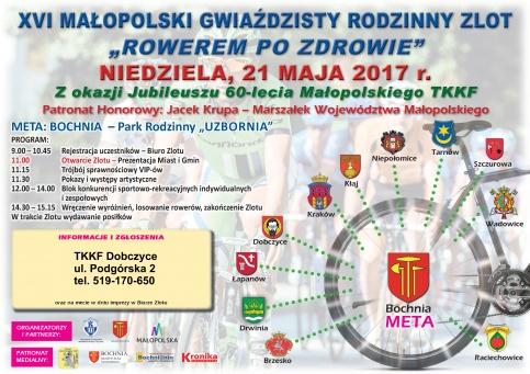 """Plakat - XVI Małopolski Gwiaździsty Rodzinny Zlot """"Rowerem po zdrowie"""""""