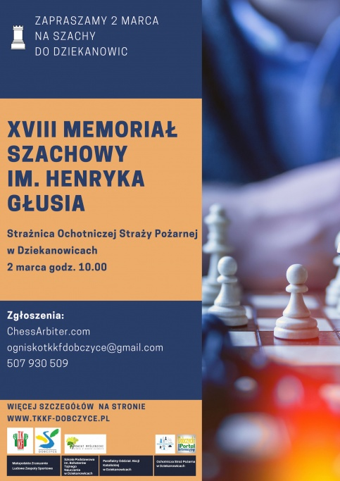 plakat - XVIII Memoriał Szachowy im. Henryka Głusia